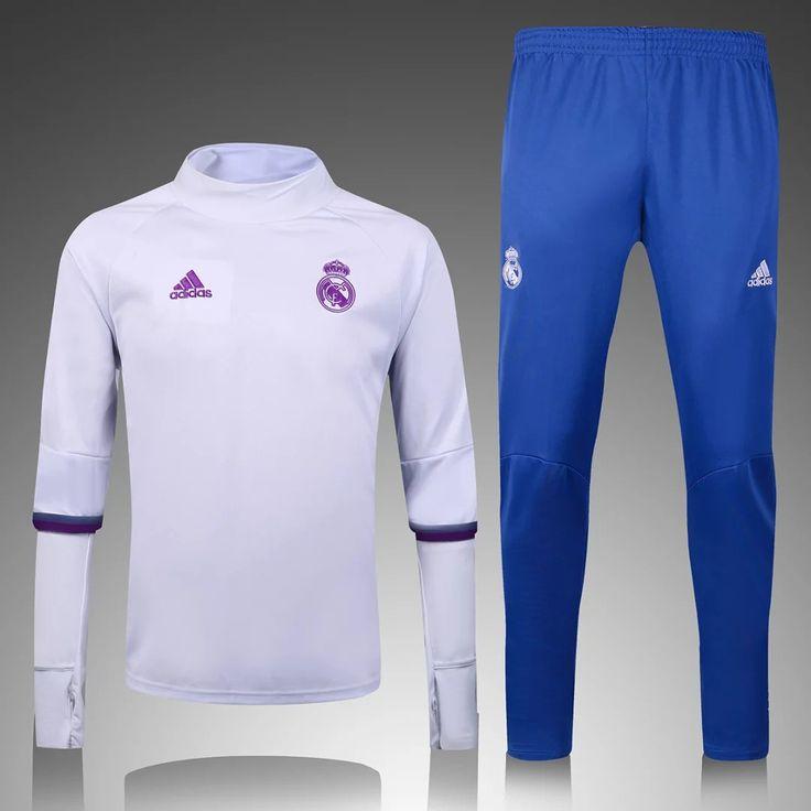 Real Madrid 2016/17 White Top Blue Pants Men Tracksuit With Black Pants Slim Fit