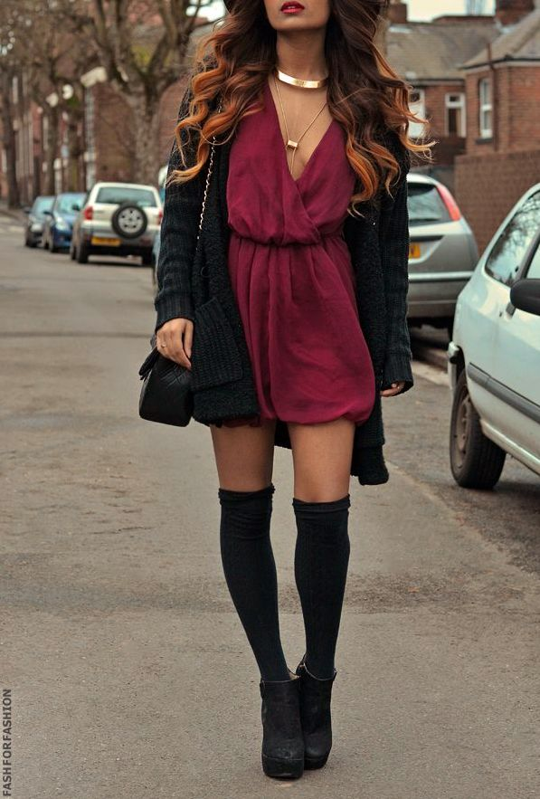 Interesting look- black knee socks worn under black ankle boots to fake the look of thigh highs- really cool idea actually