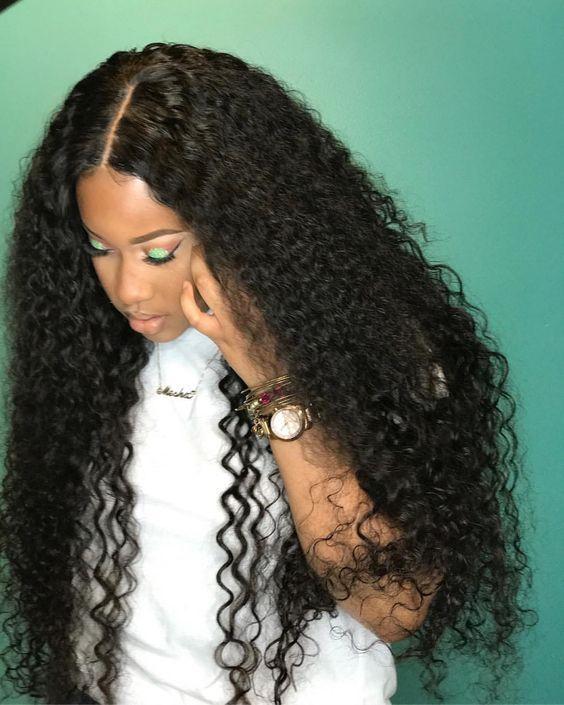 Curly Full Lace Wigs 100 Human Hair No Mixed Natural Black Brazilian