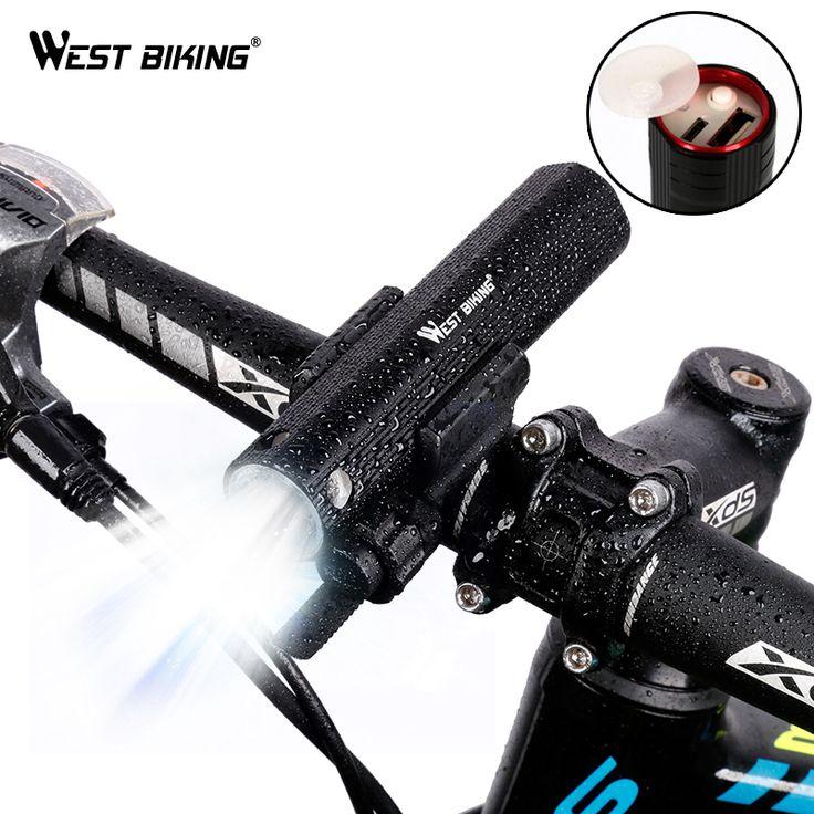 buy west biking bicycle lights power bank waterproof usb rechargeable bike light flashlight #rechargeable #flashlight