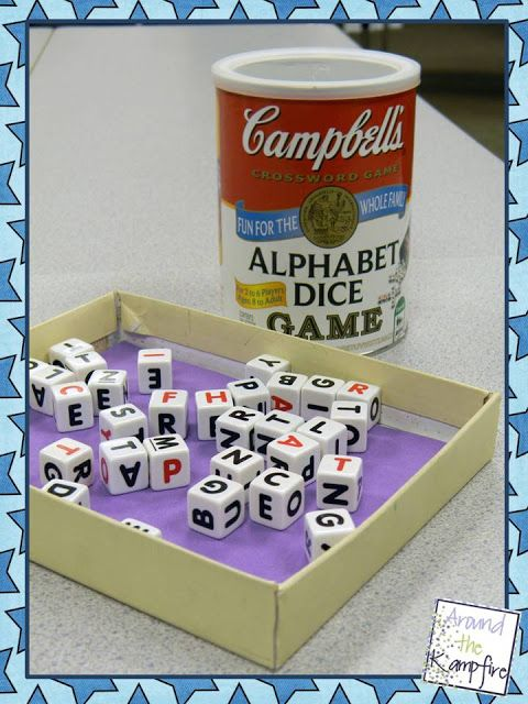 Alphabet dice for word work station from ToysRUs and Target online.  Use a shoebox lid lined with a foam craft sheet for quieter dice games and to keep dice from rolling across the floor!