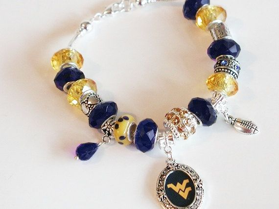 WVU Mountaineers Football European Charm by OnIslandTimeJewelry, $34.00