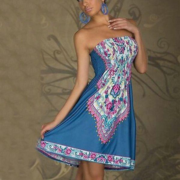2016 New Sexy Women Mini Dress Casual Floral Bandeau Beach Summer Boho Maxi Sundress