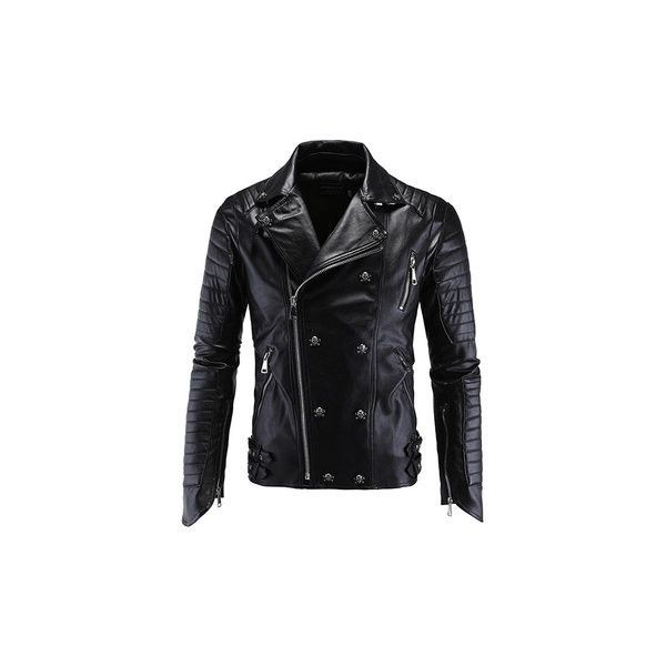 Black Slim Fit Punk Motorcycle Synthetic PU Leathter Coat Jacket (265 BRL) ❤ liked on Polyvore featuring men's fashion, men's clothing, men's outerwear, men's jackets, black, mens faux leather jacket, mens punk jacket, mens slim jacket, mens fake leather jacket and mens zip jacket