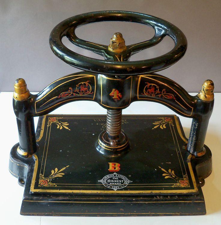 ANTIQUE CAST IRON BOOKBINDING BOOK PRESS 4B NIPPER 1898 COLUMBIAN EXPOSITION | eBay