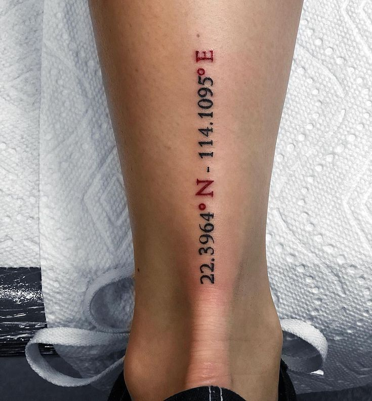 An ideal location for coordinate tattoo for your next trip. #idealer #coordinates #first #travel #tattoo