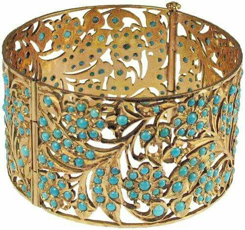 """Ancient Persian 22kt Gold solid bracelet with open fretwork of a floral leaf design with turquoise beads. Wearable. Weight: 3 oz. 200 BC (2 3/4"""" x 1 1/2"""")"""
