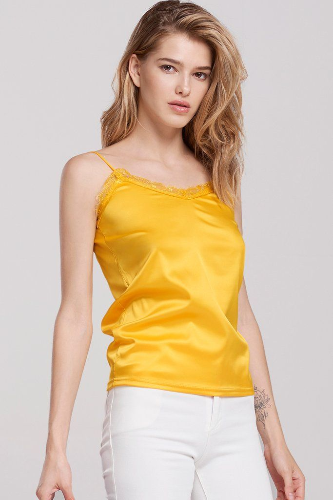 0cc88c908d49d2 Sarah String Strap Lace Singlet Top-Yellow Discover the latest fashion  trends online at storets.com  fashion  string  strap  lacetop  singlet   tops  summer ...
