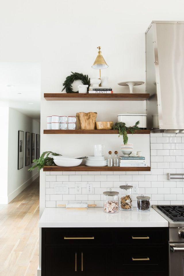 Light countertop, wood open shelving, darker cabinets..only with antique brick backsplash