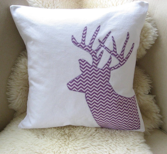 Winter Woodland Buck Silhouette Pillow Cover Deer by VixenGoods - kind of in love with this one ...