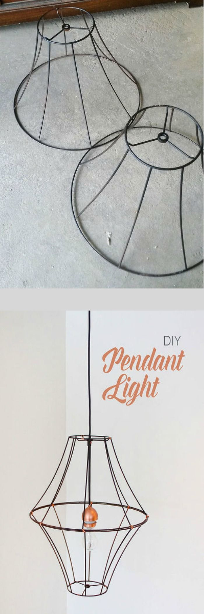 Beautiful and inexpensive DIY Pendant Light - you could add crystals to give it a chandelier look.