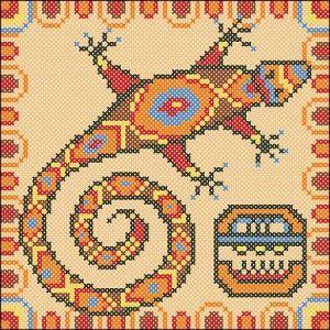 Mayan Lizard cross stitch chart.. no color chart, just use pattern chart colors…