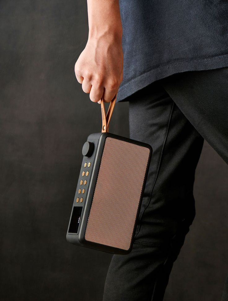 tRADIO from KREAFUNK is DAB+ radio and Bluetooth speaker in one, which enables tuning in on your favourite radio programmes or listen to your own playlist on Spotify, iTunes etc. It comes with a smart leather strap for easy transportation when you are on the move.
