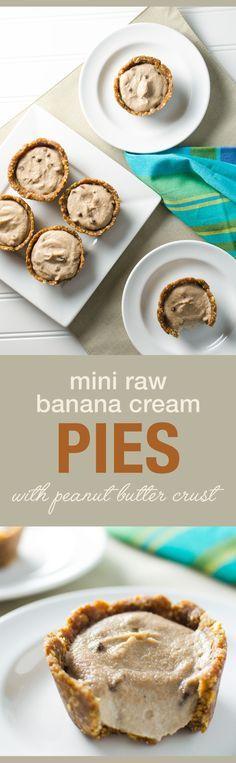 Mini Raw Banana Cream Pies with peanut butter crust - a yummy vegan and gluten free snack or dessert recipe | VeggiePrimer.com
