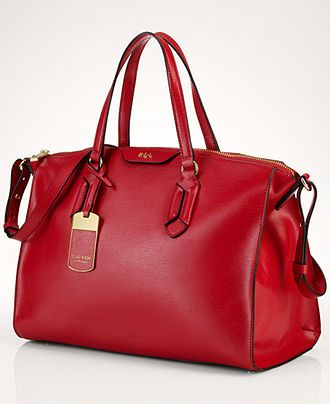 Ralph Lauren Tate Convertible Satchel in red ~ Most beautiful handbag at Macy's today. Sigh, a work of art.