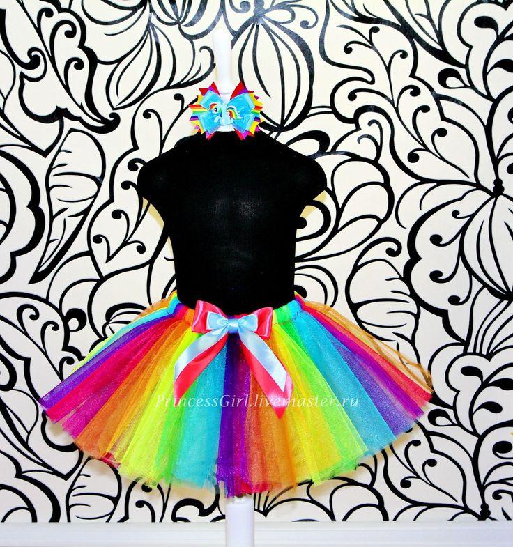Купить Пышная юбочка с бантиком - комбинированный, рисунок, юбка пачка из фатина, радужная юбка