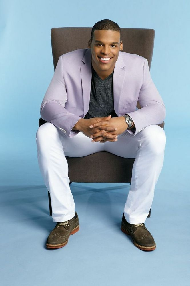 Heisman Trophy winner Cam Newton models clothes from his MADE Cam Newton line, available at Belk.