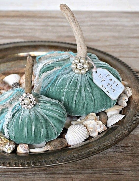 The cutest fabric pumpkins with a beachy attitude. No sew fabric pumpkin tutorial: http://www.completely-coastal.com/2012/09/making-fabric-pumpkins-no-sew-tutorial.html