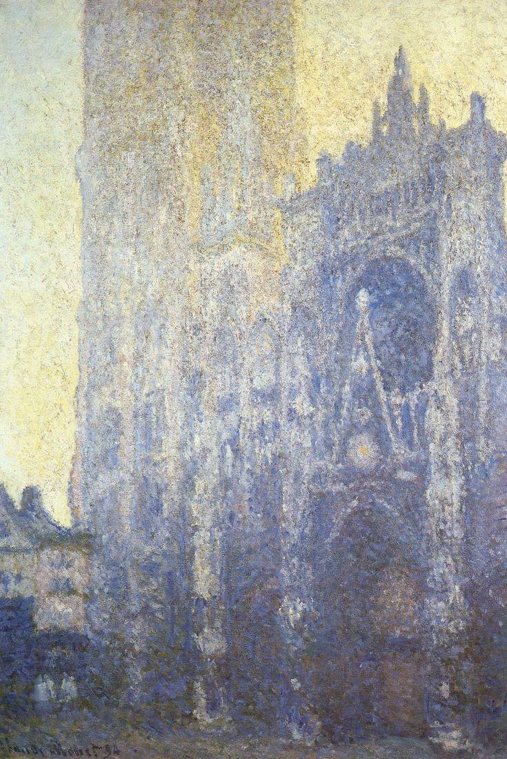 Oscar-Claude Monet (French 1840-1926) [Impressionism]  La Cathédrale de Rouen. Le Portail (effet du matin), Rouen Cathedral, Facade and Tour d'AlbaneI, dull day, 1892-1894. Oil on canvas, 107 × 74 cm. Fondation Beyeler, Riehen, Switzerland.