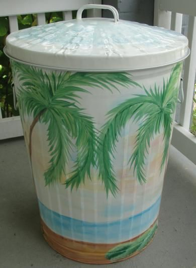 Painted metal garbage cans - Google Search