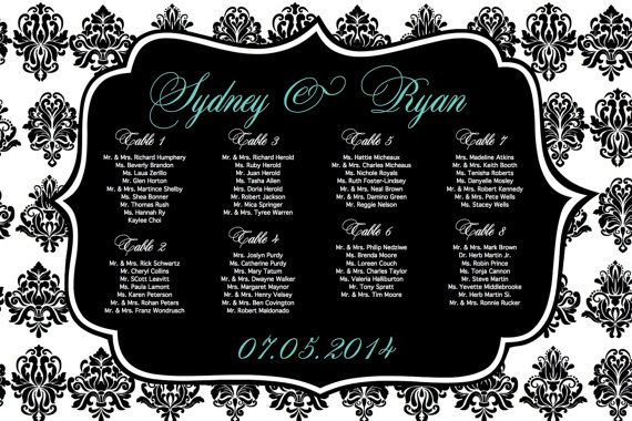 Damask Wedding Seating Chart with Bride & Groom by PrintMyWedding