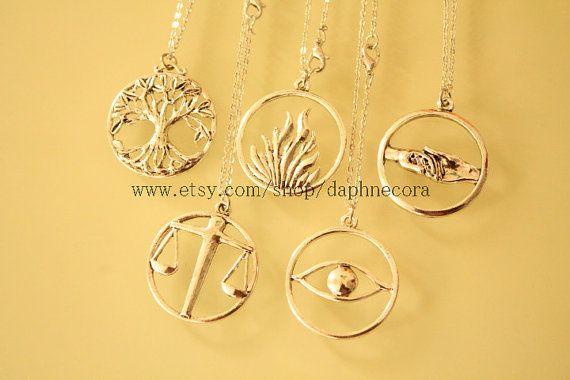 5pcs antique silver Divergent necklace what you see by daphnecora, $14.99