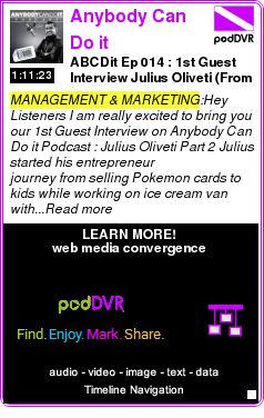 #MANAGEMENT #PODCAST  Anybody Can Do it PodcastAnybody C    ABCDit Ep ? 014 : 1st Guest Interview ?Julius Oliveti? (From selling Pokemon cards to $1m with 110k seller feedback on Amazon) Part 2    HEAR:  http://podDVR.COM/?c=38503172-8438-53da-bf5d-9880e6e7fb11