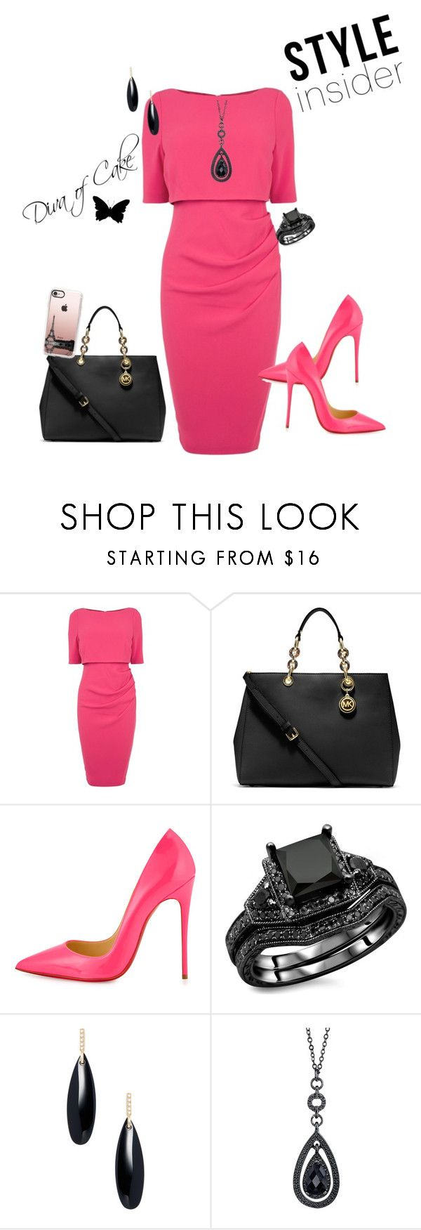 """Elegant pink and black outfit"" by Diva of Cake featuring Coast, MICHAEL Michael Kors, Christian Louboutin, Janis Savitt, 1928 and Casetify"