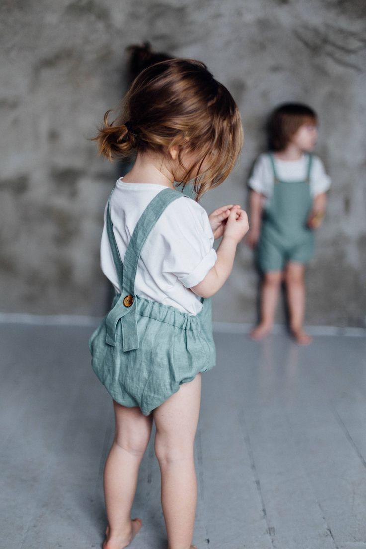 Handmade Linen Romper | TinyBunnyKids on Etsy