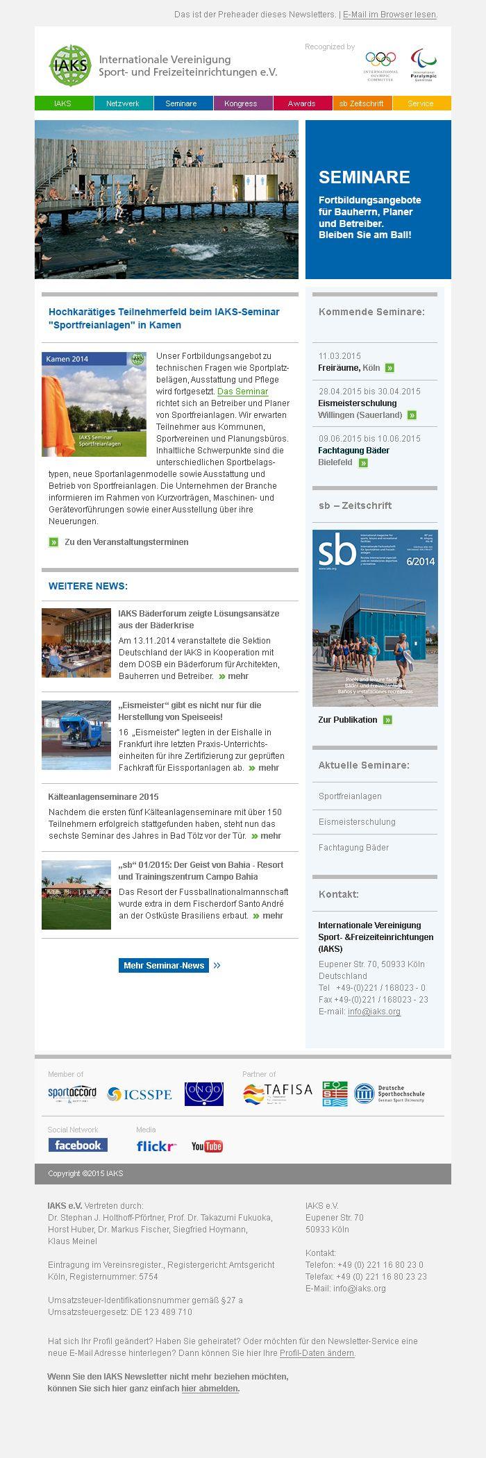 Schickes #Newsletter #Design für die #IAKS Sport- und Freizeiteinrichtungen e.V.  #Newsletterdesign #Email #Emailmarketing