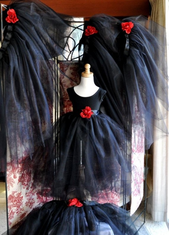 Black long tutu for girls. Gothic Halloween