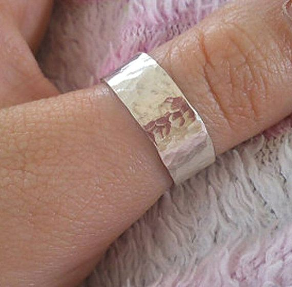 Silver Thumb Ring Hammered Ring Sterling Silver UK by PABJewellery
