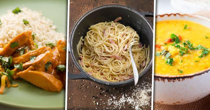 Korvstroganoff, pasta carbonara och indiska linsgrytan Dahl är alla exempel på goda och enkla maträtter för dig som vill äta billig mat.