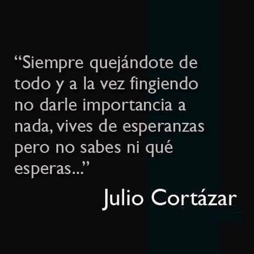 * Julio Cortazar * . Siempre quejándote de todo y a la vez fingiendo no darle importancia a nada, vives de esperanzas pero no sabes que esperas.