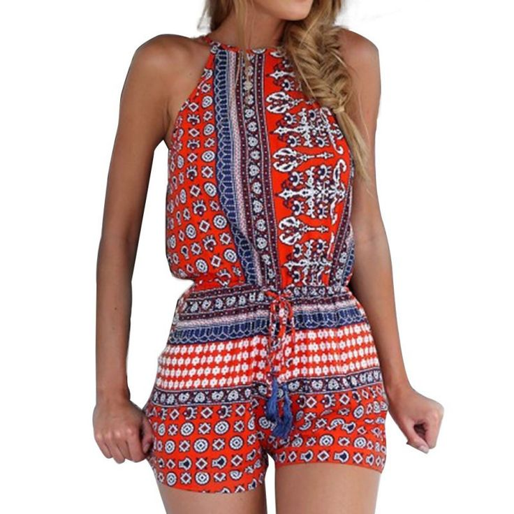 Dmart7deal Women Rompers Summer Backless Floral Print Playsuit Sleeveless Playsuit Romper Shorts Plus Size Overalls