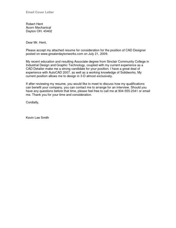 email cover letter sample  cover letter for resume email