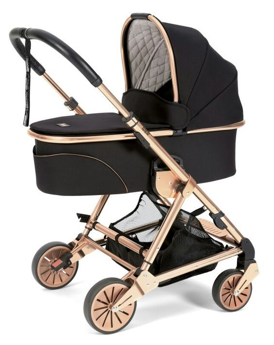 Obsessed with this black and rose gold stroller. #chicnursery #nurserygoals #babynursery #babymama