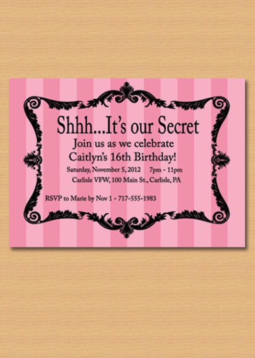 Pink striped sweet 16 or other party by LittleFishPaperCraft, $10.00 - Victoria Secret theme