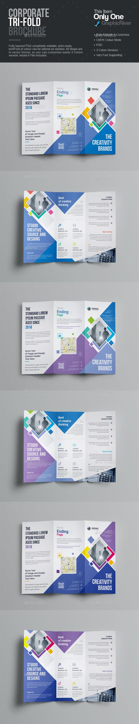 TriFold Brochure — Photoshop PSD #badges & stickers #Custom Print • Download ➝ https://graphicriver.net/item/trifold-brochure/20187781?ref=pxcr