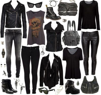 *** black skinnies/ pants. Black screen tees. Clack sweates. Black jackets. Black boots. Black shoes