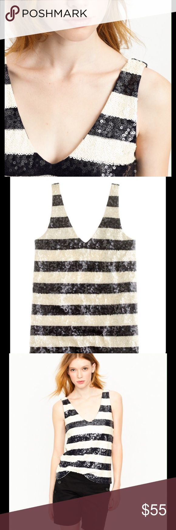 JCREW SEQUIN TOP NWOT This beautiful vneck sequin cami in navy and ivory stripe. What a great way to dress up those nautical looks this summer.  Never worn. Reasonable offers considered and closet discount on bundles. J. Crew Tops Camisoles