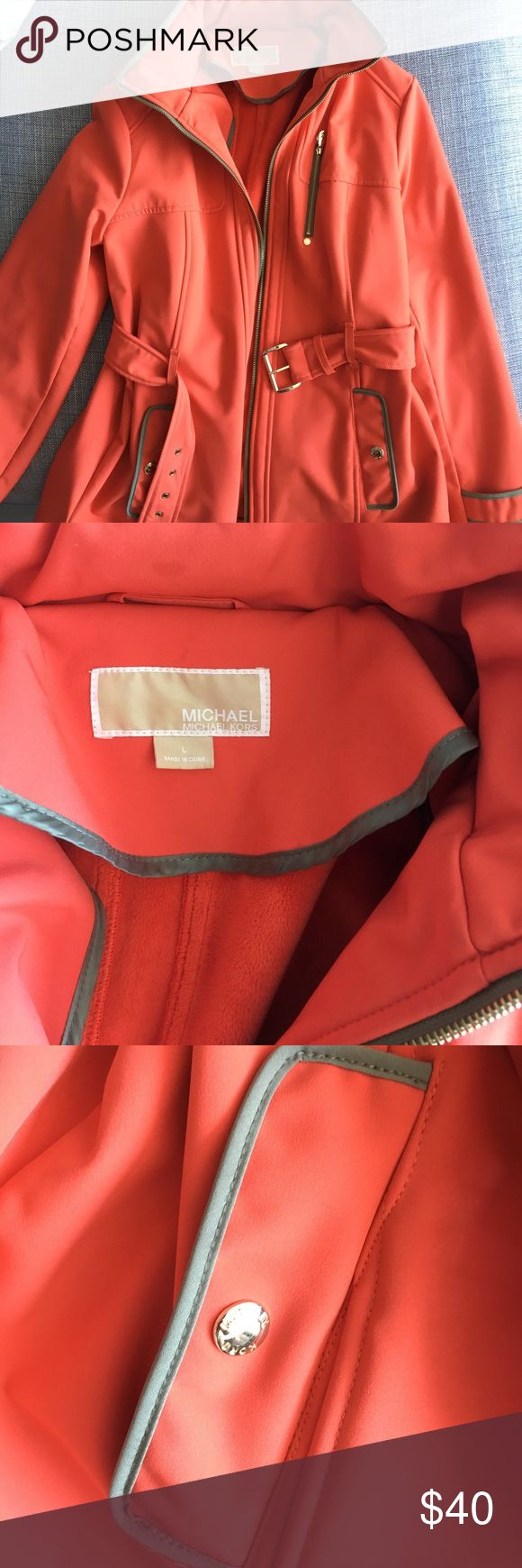 Michael Kors rain jacket with hunter green trim Like new! Worn once MICHAEL Michael Kors Jackets & Coats Trench Coats