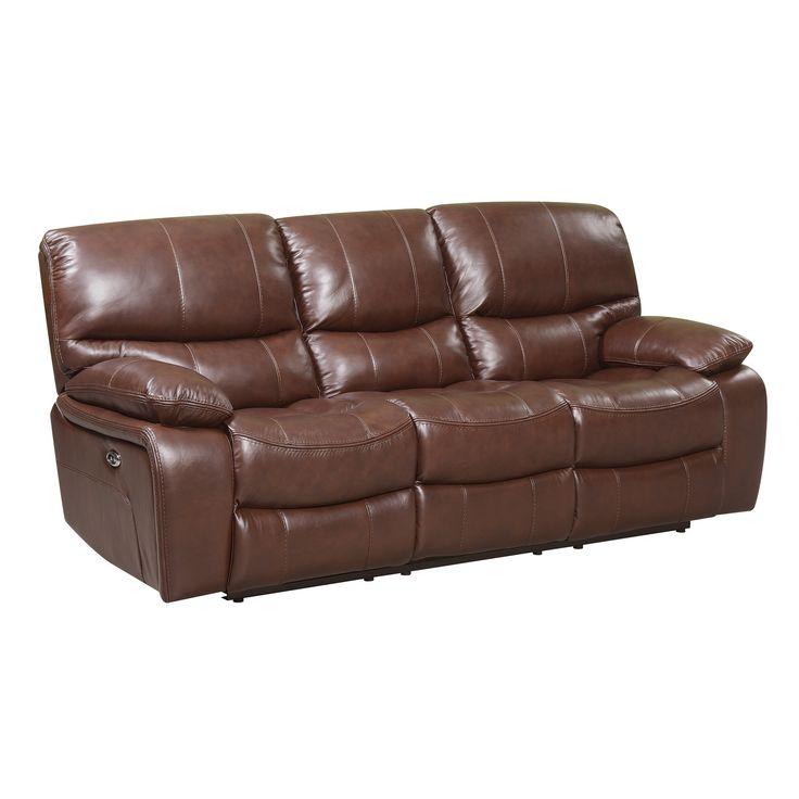 Oliver Pierce Mason Power Reclining Top Grain Italian Leather Sofa, Brown  (Upholstered)