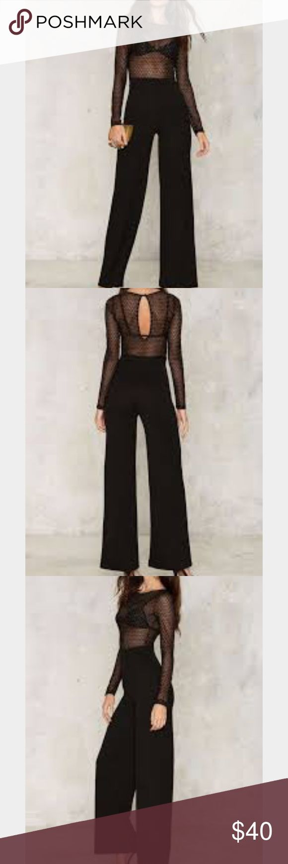 Kool Thang Sheer Black Jumpsuit Nasty Gal This is the perfect jumper for a night out on the town. I wore it once. It is sheer up top and black pants at the bottom Nasty Gal Pants Jumpsuits & Rompers