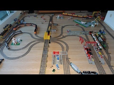 Gigantic Lego Train Layout with 30 years of Lego Train sets - YouTube
