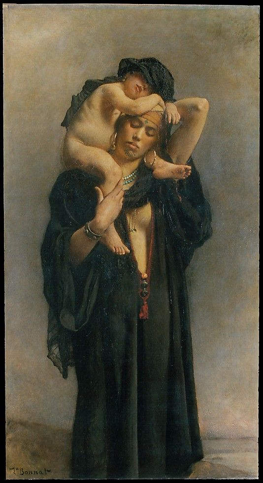 Léon Bonnat, (French, Bayonne 1833–1922 Monchy-Saint-Eloi). An Egyptian Peasant Woman and Her Child, 1869-70. The Metropolitan Museum of Art, New York. Catharine Lorillard Wolfe Collection, Bequest of Catharine Lorillard Wolfe, 1887 (87.15.97) #kids #metkids