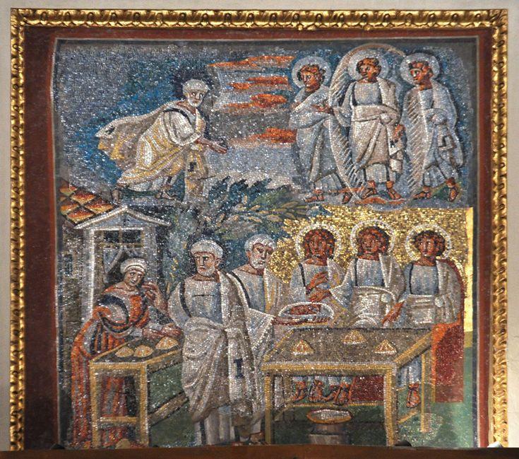 Santa Maria Maggiore, Roma, I mosaici , 432-440. Visita dei tre angeli ad Abramo. Foto di Pavel Otdelnov
