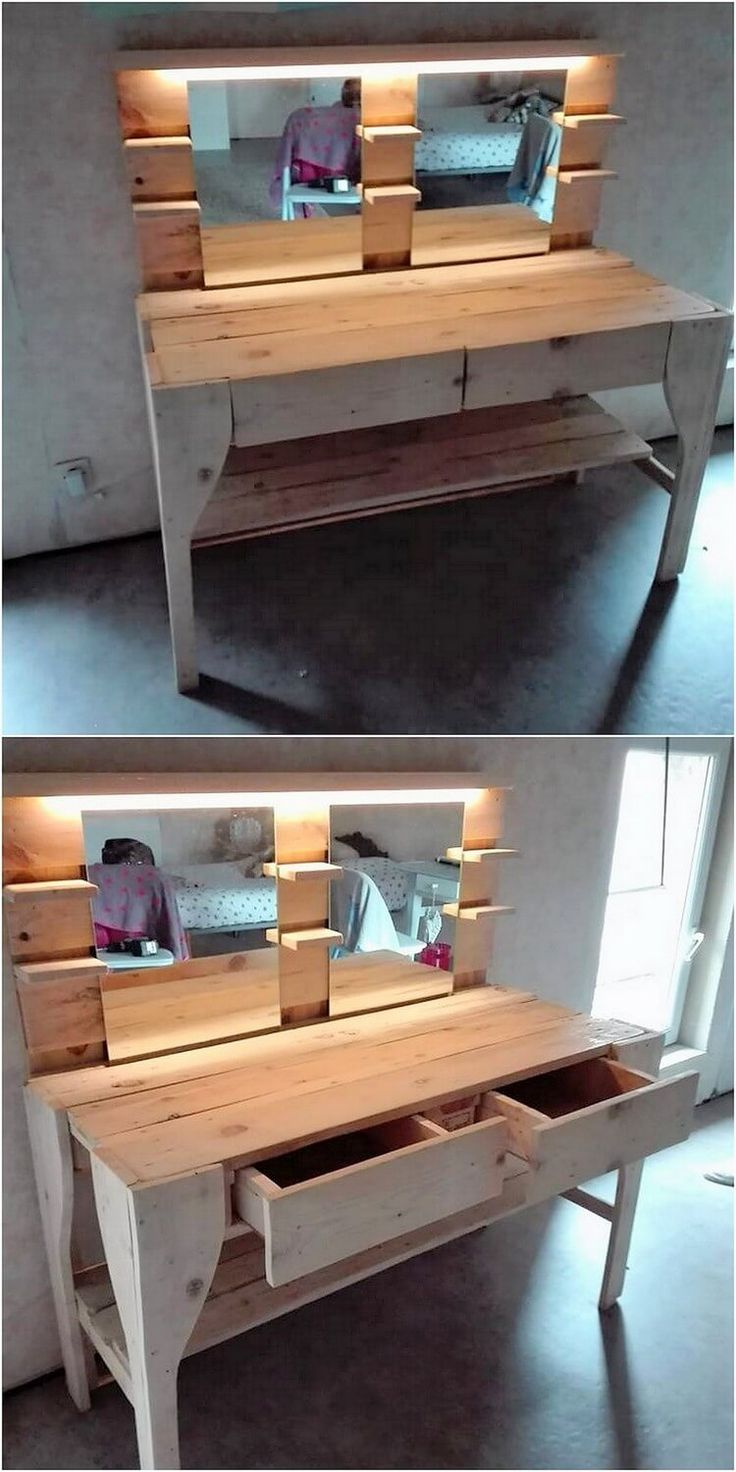 This dressing table designing of the wood pallet has been all awesome created to make it awesomely placed in your bedroom. It has been fully implicated out with the variation concepts where you will be finding the taste of the drawers too. The use of wood pallet coverage has made it rather modern in appearance.