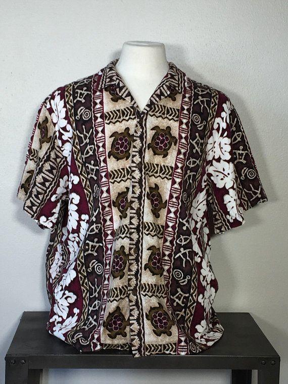 Vintage 1980/'s RJC Hawaiian Shirt Reverse Print Made in USA Flower Hibiscus Button Front Short Sleeve Medium Blue Hawaii Surf Beach Floral