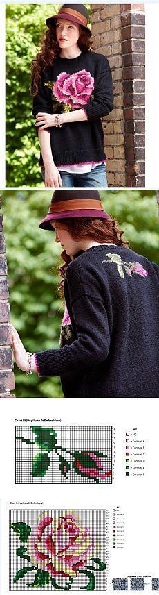 Джемпер с жаккардовой розой. Очень красиво!